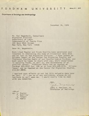 Correspondence from Fordham University