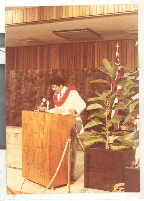 "Jonathan Ortiz speaking at the ""Diaspora Reception"""