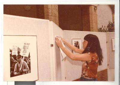 Setting up the Boricua Hawaiiana exhibit