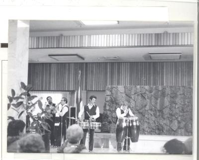 Los Jíbaros playing during the opening of the Boricua Hawaiiana exhibit