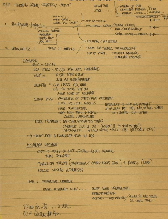Manuscript Notes for Metropolitan/Urban Research Strategy Center