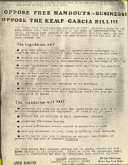 Oppose Free Handouts to Business! Oppose the Kemp-Garcia Bill!!!