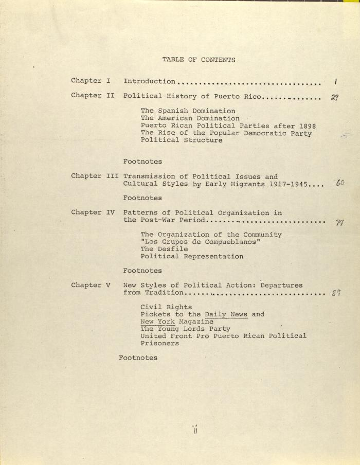 Draft of Puerto Rican Migration Consortium - Table of Contents