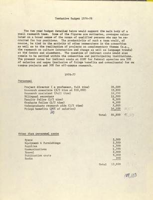 Puerto Rican Migration Consortium - Tentative Budget 1976-78
