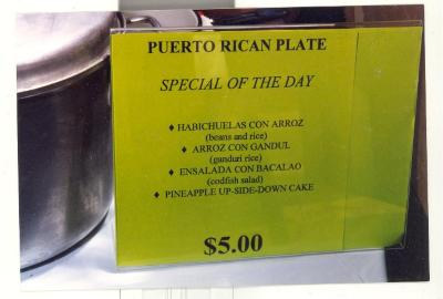 Puerto Rican plate special of the day