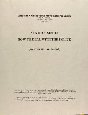 State of Siege: How to Deal With the Police [An Information Packet]