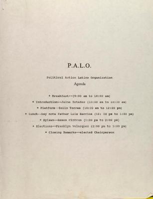 P.A.L.O. - Political Action Latino Organization - Agenda