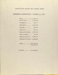 Metropolitan Research and Strategy Center - Statement of Expenditures