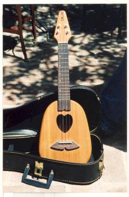 Heart-shaped ukulele propped against case