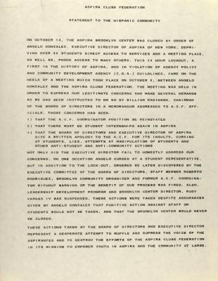 ASPIRA Clubs Federation - Statement to the Hispanic Community