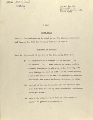 Tax Abatement Moratorium  and Focused New York City Planning Ordinance of 1981