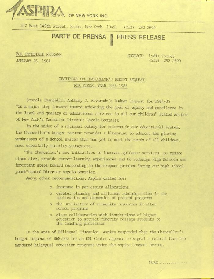 Testimony of Chancellor's Budget Request For Fiscal Year 1984-1985