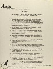 Fact Sheet - The Status of Limited English Proficient Students: NYC Public Schools, January 1990