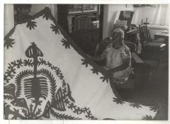 Women making a Hawaiian quilt