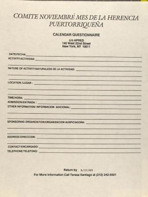 Comité Noviembre Mes de la Herencia Puertorriqueña - Calendar Questionnaire