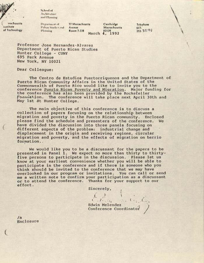 Correspondence from Edwin Melendez