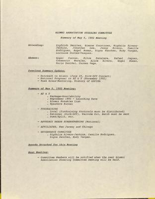 Alumni Association Steering Committee - Summary of May 5, 1993 Meeting