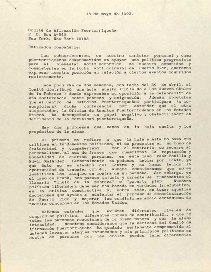Correspondence from Blanca Vázquez and Amílcar Tirado