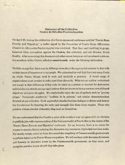 Statement of the Collective, Centro de Estudios Puertorriqueños