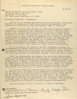 Correspondence from Comité de Afirmación Puertorriqueña
