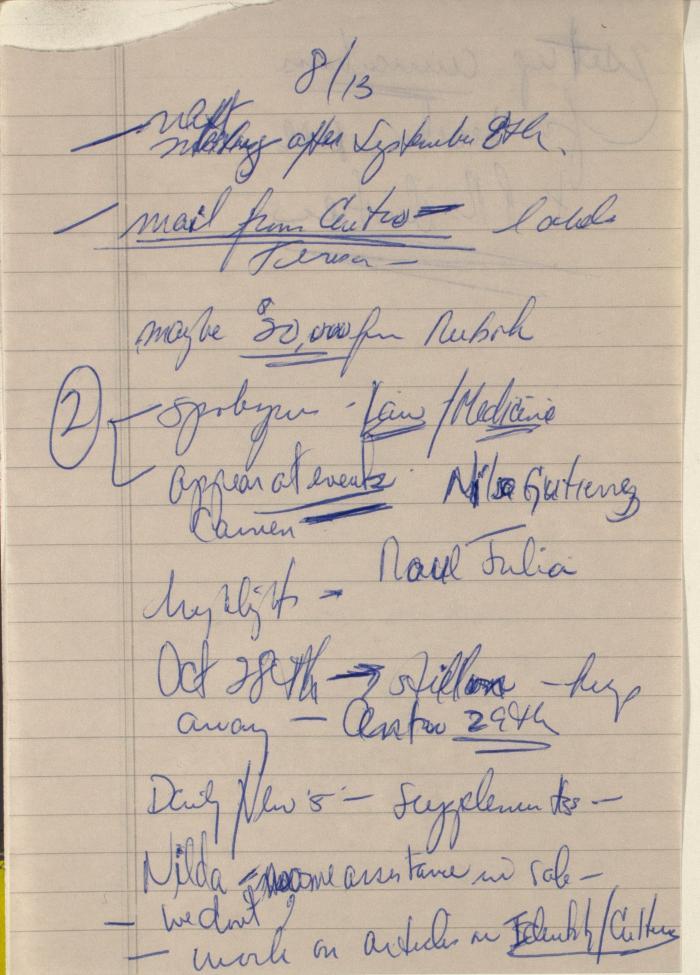 Manuscript Notes on Comité Noviembre