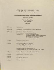 Comité Noviembre - Puerto Rican Heritage Month Leadership Symposium - Program