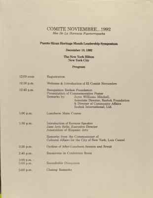 Comité Noviembre - Puerto Rican Heritage Month Leadership Symposium - Program