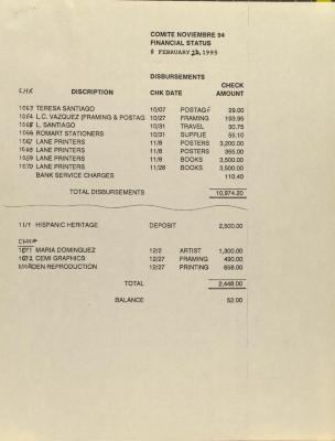 Comité Noviembre - Financial Status