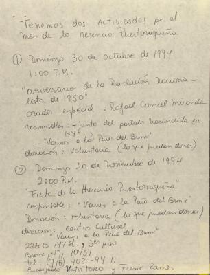 Manuscript Notes for Comité Noviembre