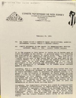 Correspondence from Comité Noviembre de New Jersey