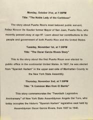 Program for Puerto Rican Heritage Month
