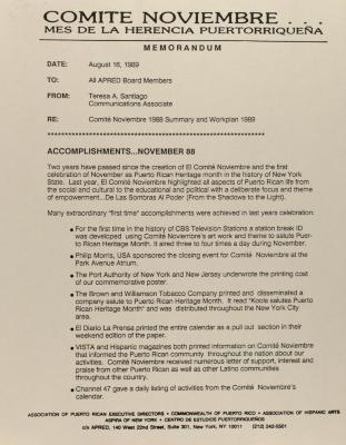 Correspondence from Comité Noviembre