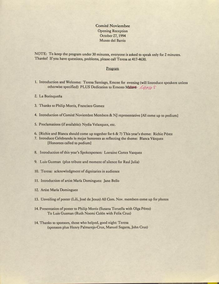 Comité Noviembre  - Opening Reception Program
