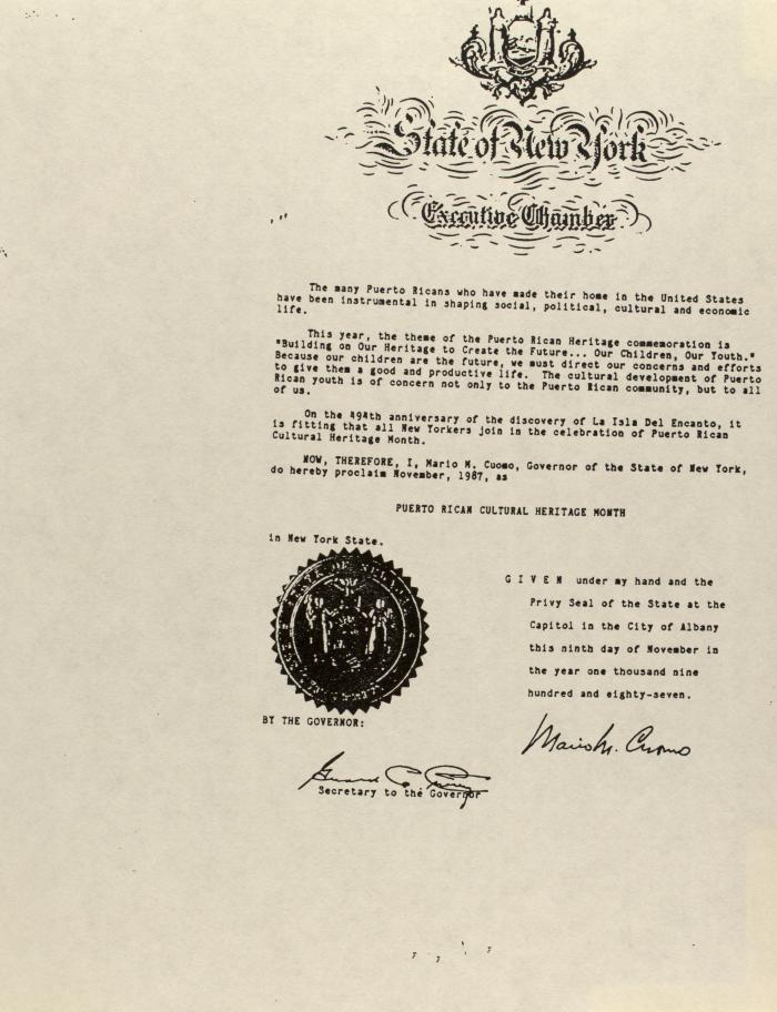 Correspondence from New York State Executive Chamber