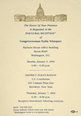 Inaugural Reception of Nydia Velázquez