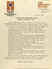 Hispanic Policy Development Project - Report of Activities, 1983