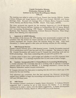 Comité Noviembre Minutes