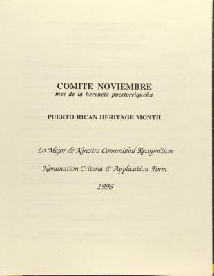 Comité Noviembre - Puerto Rican Heritage Month - Lo Mejor de Nuestra Comunidad Recognition