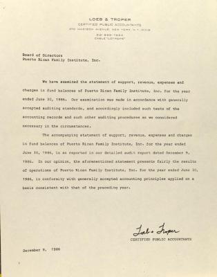 Correspondence from Loeb & Troper