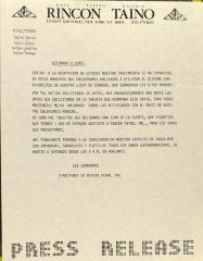 Rincon Taino - Press Release