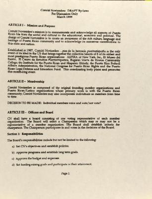 Comité Noviembre - DRAFT By-Laws