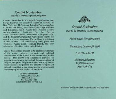 Comité Noviembre - Puerto Rican Heritage Month