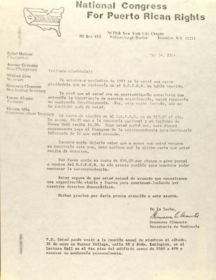 Correspondence from The National Congress for Puerto Rican Rights