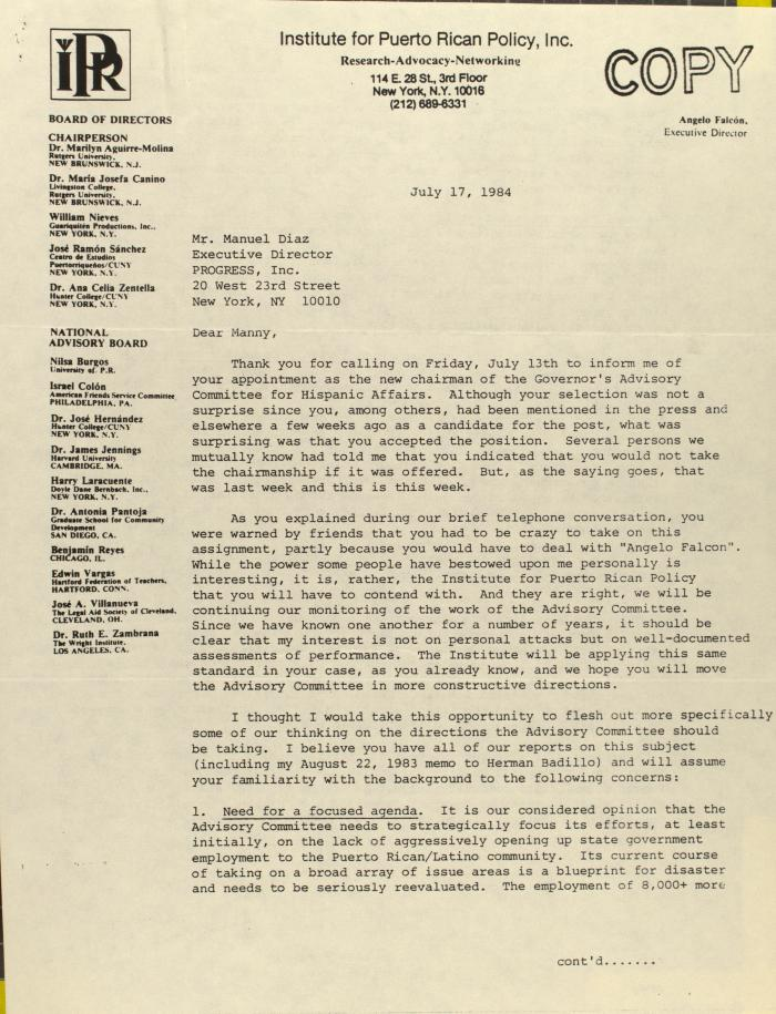 Correspondence from the Institute for Puerto Rican Policy, Inc.