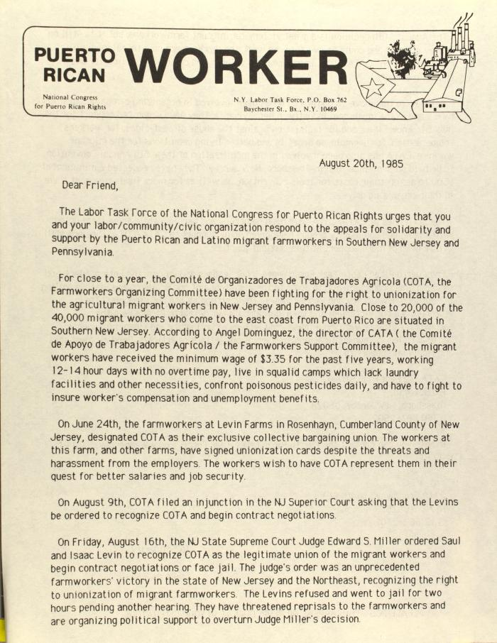 Correspondence from Puerto Rican Worker of the National Congress for Puerto Rican Rights