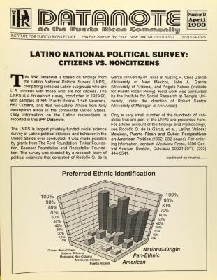Datanote on the Puerto Rican Community