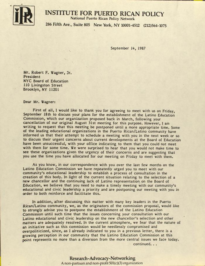 Correspondence from Institute For Puerto Rican Policy