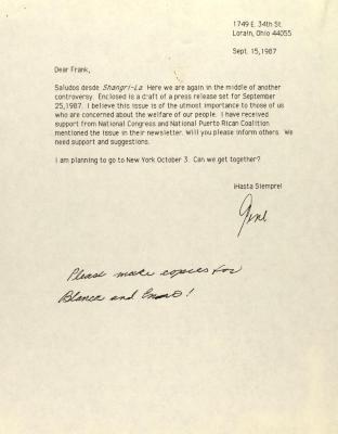 Correspondence to Centro Director Frank Bonilla