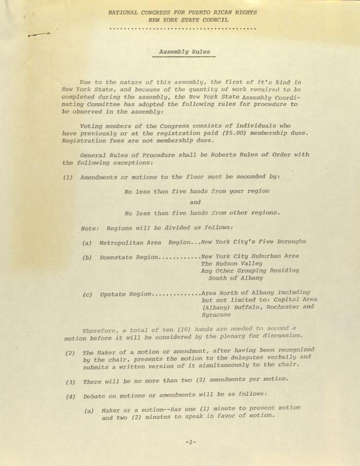 National Congress for Puerto Rican Rights - New York State Council - Assembly Rules