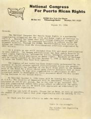 Correspondence from National Congress for Puerto Rican Rights